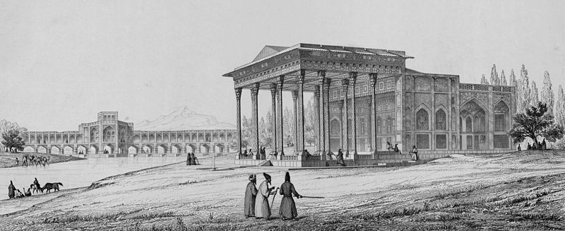 Pavillon of Aynekhane outside perspective by Pascal Coste